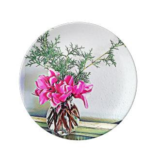 Assiette En Porcelaine Cyclamen rose, bouquet floral - plat décoratif