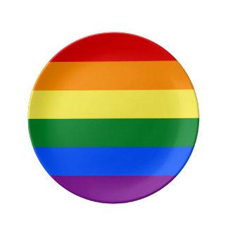 Assiette En Porcelaine Drapeau de gay pride d'arc-en-ciel