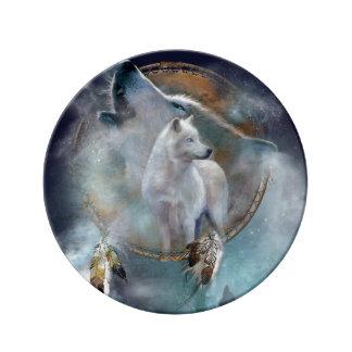 Assiette En Porcelaine Dreamcatcher de loup - loup blanc - art de loup