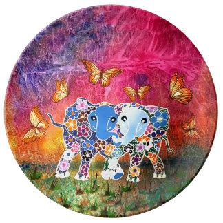 Assiette En Porcelaine Éléphants de danse