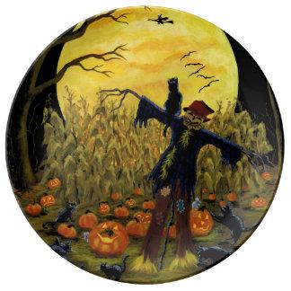 Assiette En Porcelaine Épouvantail de Halloween dans le plat de partie de