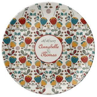 Assiette En Porcelaine Ethno vintage fleurit des noms faits sur commande