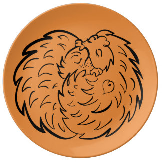 Assiette En Porcelaine Étreignant des hérissons 4 amoureux des animaux