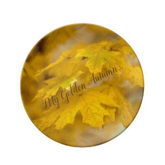 Assiette En Porcelaine Feuille jaune d'érable d'automne. Ajoutez-vous
