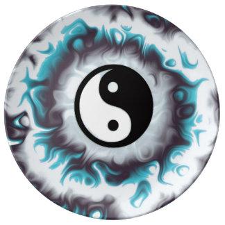 Assiette En Porcelaine Flamme de Yin Yang Teal