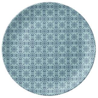 Assiette En Porcelaine Fleur de bleu de Maroccan