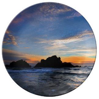 Assiette En Porcelaine Grand coucher du soleil de Sur