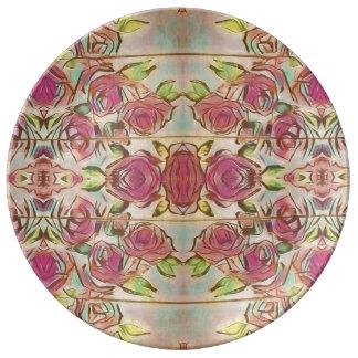 Assiette En Porcelaine Grand plat de bouquet de rose de rose