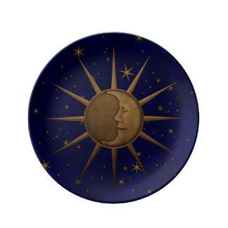 Assiette En Porcelaine Graphique en laiton de soulagement de Bas de lune