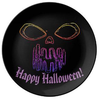 Assiette En Porcelaine Halloween heureux et Jack-o'-lantern