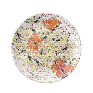 Assiette En Porcelaine Jaune, or et croquis soustrait orange de fleur