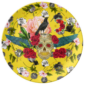 Assiette En Porcelaine Jour des morts I Dia De Los Muertos Plate