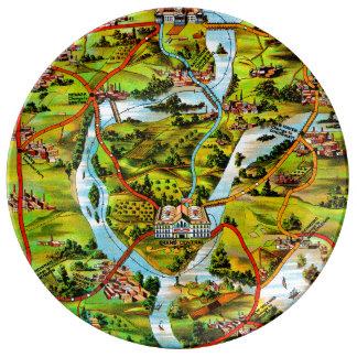 Assiette En Porcelaine La route à la carte de cru de Washington