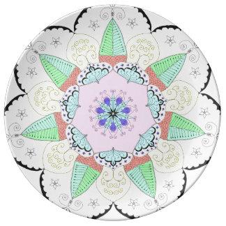 Assiette En Porcelaine L'art de mandala modèle le yoga floral OM de fleur