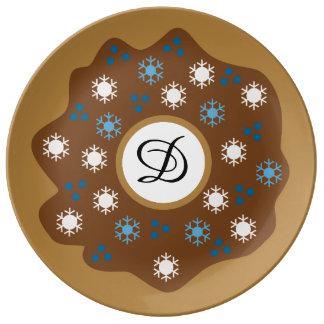 Assiette En Porcelaine Le bleu de beignet de Noël de flocon de neige