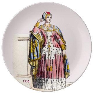 Assiette En Porcelaine Le ~ COSTUME Madame de ~A du 3ème ~ 1350s de Rank~
