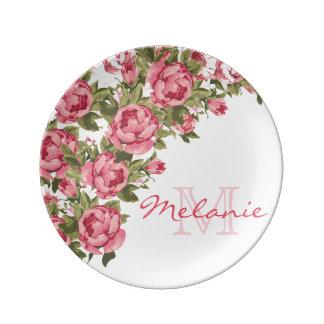 Assiette En Porcelaine Le cru rougissent les pivoines roses nom,