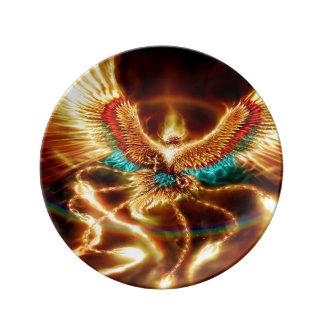 Assiette En Porcelaine Le feu magique et mystique Phenix de vol