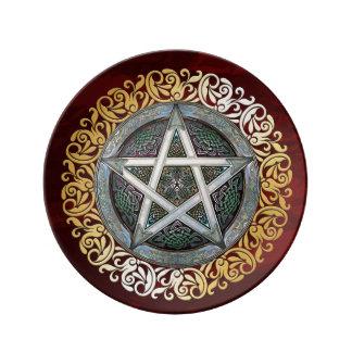 Assiette En Porcelaine Le rituel médiéval rouge rouge de sorcellerie
