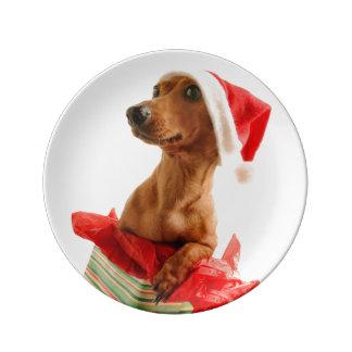 Assiette En Porcelaine Le teckel père Noël - le chien de père Noël -