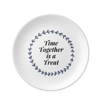 Assiette En Porcelaine Le temps est ensemble un festin