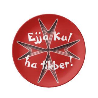 Assiette En Porcelaine Les souvenirs de Malte, Ejja Kul ha Tikber,