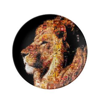 Assiette En Porcelaine Lion sauvage - collage de lion - mosaïque de lion
