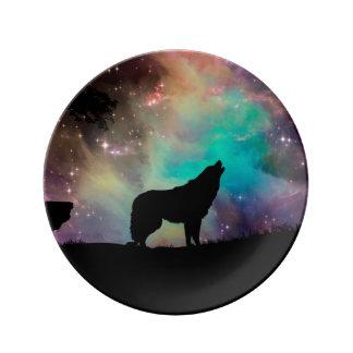 Assiette En Porcelaine Loup américain - conception de loup - silhouettez
