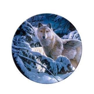 Assiette En Porcelaine Loup arctique - loup blanc - art de loup
