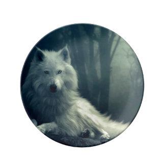 Assiette En Porcelaine Loup arctique - loup de forêt - loup de neige -