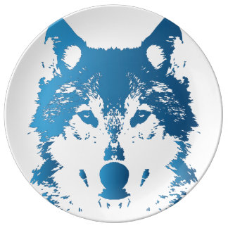 Assiette En Porcelaine Loup de bleu glacier d'illustration