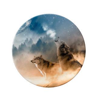 Assiette En Porcelaine Loup de Howlin - art de loup - loup de lune - loup