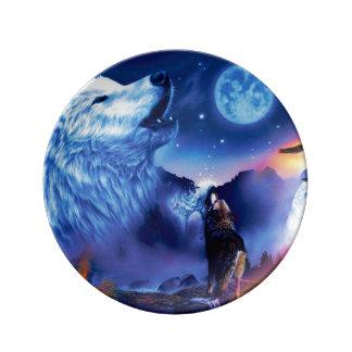 Assiette En Porcelaine Loup de Howlin - loup blanc - art de loup - loup