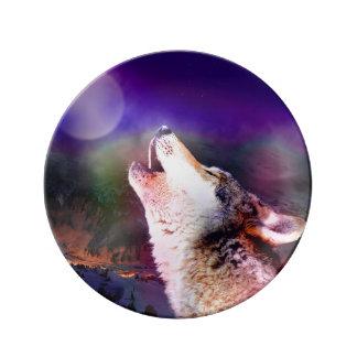 Assiette En Porcelaine Loup de Howlin - loup de lune - loup principal
