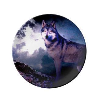 Assiette En Porcelaine Loup de lune - loup gris - loup sauvage - loup de