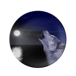 Assiette En Porcelaine Loup de mer - loup de lune - pleine lune - loup