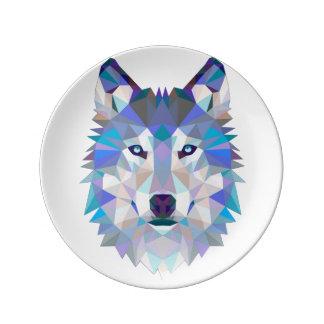 Assiette En Porcelaine Loup de polygone - loup géométrique - loup