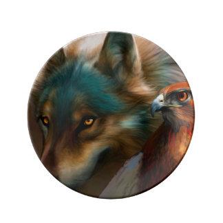 Assiette En Porcelaine Loup gris - faucon rouge - art de loup - loup