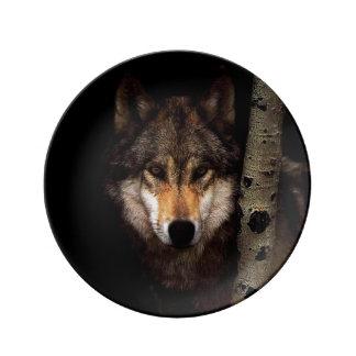Assiette En Porcelaine Loup gris - loup sauvage - loup de visage - loup