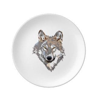 Assiette En Porcelaine Loup principal - illustration de loup - loup