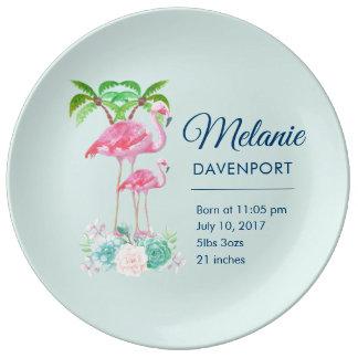 Assiette En Porcelaine Mamans roses de flamant et nouvelle naissance de