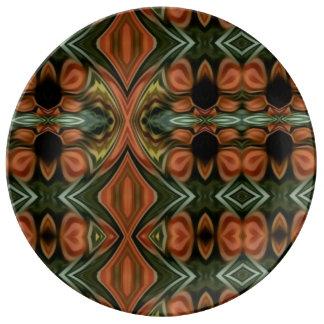 Assiette En Porcelaine Marguerites de chute dans le plat orange et vert