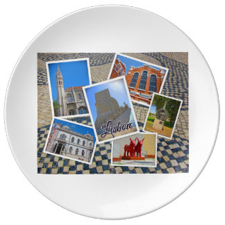 Assiette En Porcelaine Monastère de Lisbonne Jeronimos et monument de