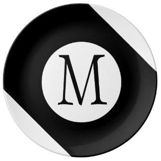 Assiette En Porcelaine Monogramme noir et blanc moderne, simple et