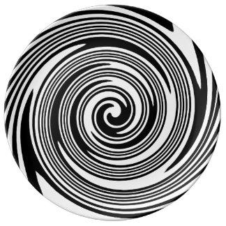 Assiette En Porcelaine Motif de tourbillonnement noir et blanc