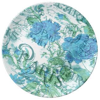 Assiette En Porcelaine Motif floral bleu vintage de cachet de la poste de