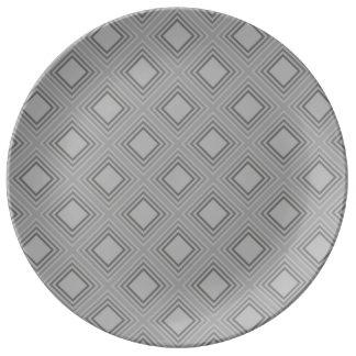 Assiette En Porcelaine Motif gris classique de carrés