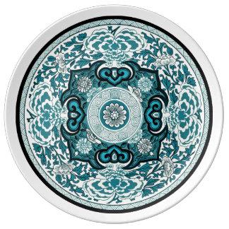 Assiette En Porcelaine Motif Neo-Retro Chinois I B