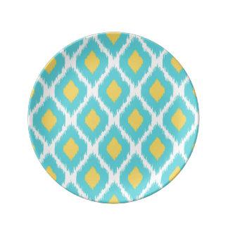 Assiette En Porcelaine Motif tribal aztèque jaune bleu à la mode d'Ikat
