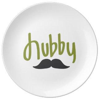 Assiette En Porcelaine Moustache de mari